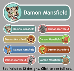 Baby Animals Theme Personalised Name Labels