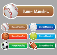 Ball Themed Personalised Name Labels
