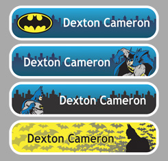 Batman Themed Personalised Name Labels