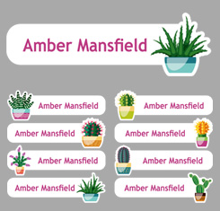 Cactus Theme Personalised Name Labels