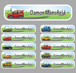 Car Theme Personalised Name Labels