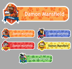 Boys Paw Patrol Themed Personalised Name Labels