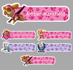 Girls Paw Patrol Themed Personalised Name Labels