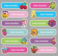 Shopkins Theme Personalised Name Labels