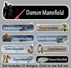 Star Wars Themed Personalised Name Labels