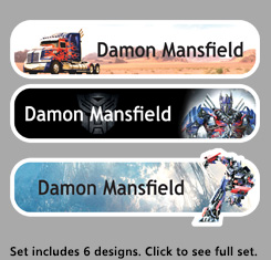 Transformers Themed Personalised Name Labels