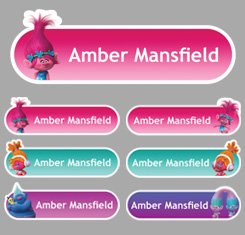 Trolls Themed Personalised Name Labels