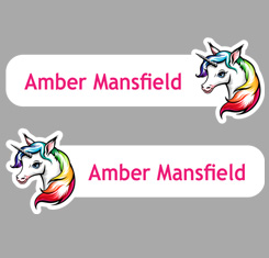 Unicorn Themed Personalised Name Labels
